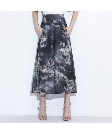 Floral printed wide leg pants capri women 2018 summer autumn high waist chiffon elastic waist straight trousers female Plus ...
