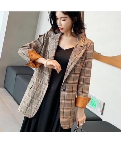 Vintage Single Button Plaid Women Blazer Pockets Jackets Female Suits Coat Feminino blazers Outerwear top quality plus size ...