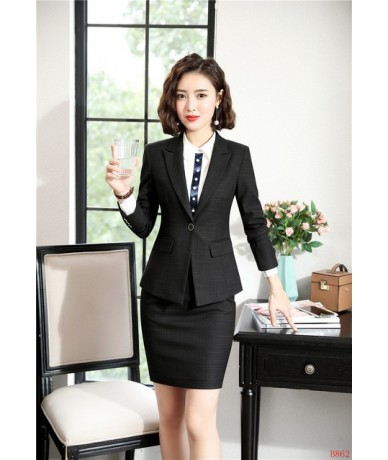 Novelty Navy Blue Professional Women Business Suits With Skirt and Tops 2019 Spring Autumn OL Styles Ladies Office Blazers -...