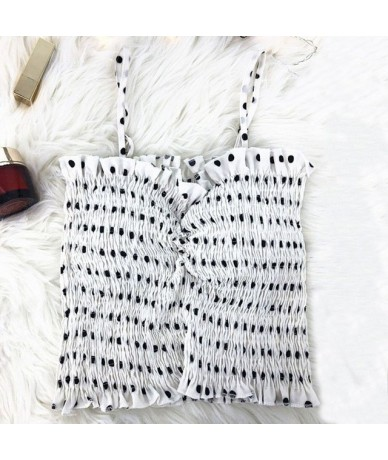 Sexy Backless Ruffles Dot Print Crop Tops Short Summer Camis Tops Women Sexy Slim Tanks Tops - White - 5N111215837949-4