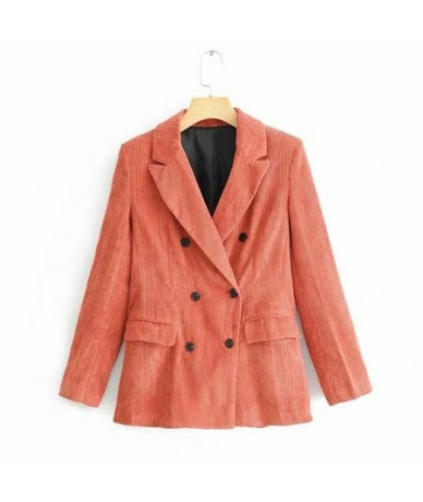 2019 New Spring Elegant Corduroy Blazer Coat Solid Office Lady Double Breasted Long Sleeve Women Blazers and Jackets Coat A0...