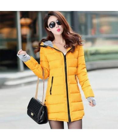 Women Thick Hooded Parkas Warm Winter Jacket Women Solid Coat Female Parka outwear cotton padded coats abrigo mujer - YELLOW...