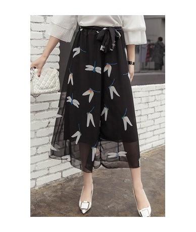 thin Loose sagging Sashes broad-legged Wide Leg pants skirt women summer Chiffon print female high waist Ankle-Length trouse...