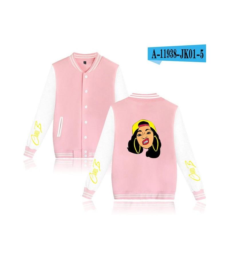 Rapper Cardi B Baseball Uniform Fleece Jacket Women Men Streetwear Hip Hop Long Sleeve Pink Hoodie Sweatshirts Tumblr Clothe...