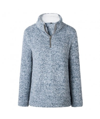 2019 New Causal Women Loose Hoodies Autumn Warm Thick Stand Collar Zipper Hoodies Solid Plush Coat Female Pullovers - Blue -...