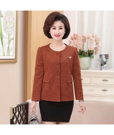 2018 Spring Autumn New Middle-Aged Women Jacket Coat O-Neck Fashion Women Jacket High Quality Basic Jackets T12 - caramel co...