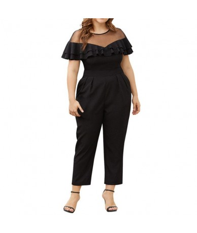 Large size Rompers Womens Jumpsuit summer Party regular Embellished Cuffs Mesh Sleevee Club Pants combinaison pantalon 1 - j...