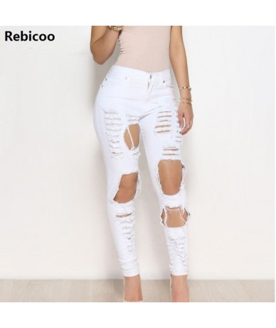 2019 New White Hole Ripped Jeans Women Jeggings Cool Denim High Waist Pants Capris Female Skinny Black Casual Jeans - 77WT -...