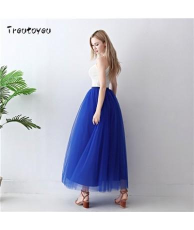 5 Layers Long Tutu Skirts 2018 Summer Fashion Womens Princess Fairy Style Voile Tulle Skirt Bouffant Puffy Fashion Skirt - R...