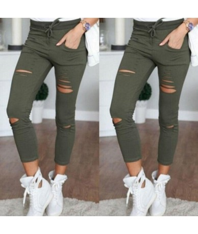 New 2018 Skinny Jeans Women Denim Pants Holes Destroyed Knee Pencil Pants Casual Trousers Black White Stretch Ripped Jeans -...