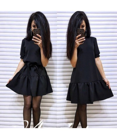 Women Vintage Party Dress Short Sleeve O neck Solid Casual Dress 2018 Summer Fashion A line Women Sexy Ruffles Loose Dress -...