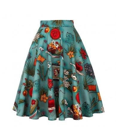 Retro 50s Vintage Skirt Summer 2018 Female jupe High Waist Midi Skater Black Floral Print Skirts Womens Pin up Swing Short S...