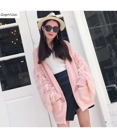 Pink Tassel Cardigan White Women 2019 new Knitwear Batwing Big Size Loose sweater Special Design Korean Top LT017S50 - White...