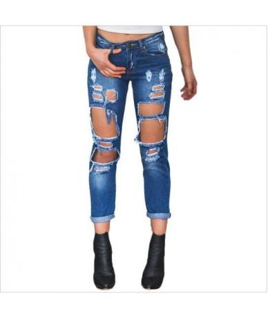 Tide Ripped Jeans for Women Washed Wild Torn Jeans Boyfriend Sexy Street Wear Denim Jeans Womens Fashion Hole Unique S XL - ...