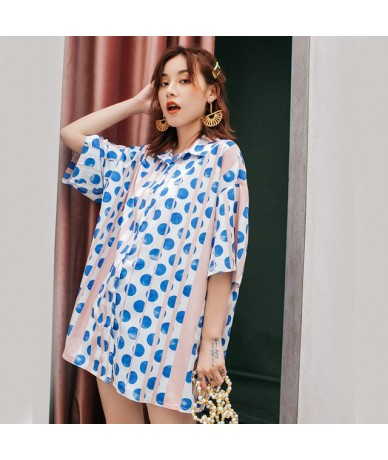 2019 New Spring Summer Lapel Long Sleeve Dot Printed Split Joint Loose Big Size Shirt Women Blouse Fashion Tide JU536 - blue...