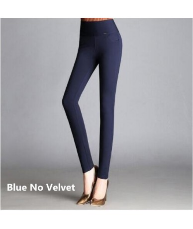 2018 Winter Pants Women Office Thick Warm Fleece High Waist pencil pants Stretch black White trousers Plus Size Leggings - B...