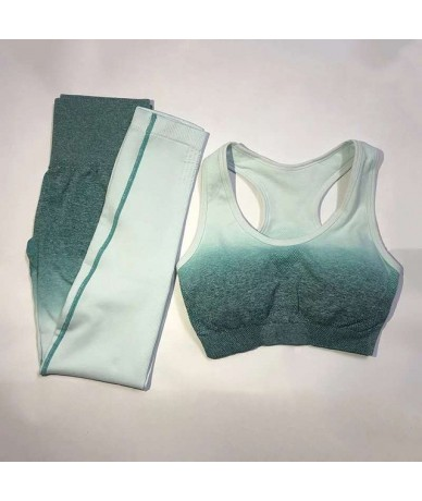2019 New Ombre Seamless 2 Pieces Sets For Fitness Bra Top With Removable Pad Push Up Workout Bra Active Wear sports set - 11...