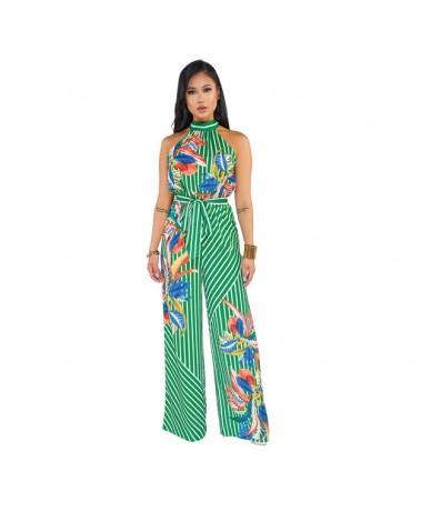 Bench Printing Jumpsuit Women Elegant Style Sleeveless Striped Romper Ladies Bohemian Stylish Playsuits Female Vestido - gre...