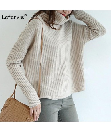 2019 Autumn Winter Women Sweaters And Pullover Turtleneck Loose Thick Knitting Cashmere Sweater Female Warm High Quality - b...