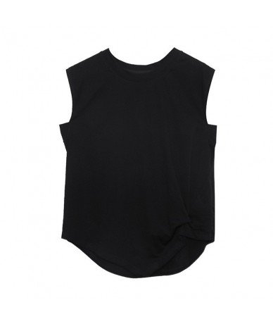 Women Black Asymmetrical Fold Stitch Loose T-shirt New Round Neck Short Sleeve Fashion Tide Spring Autumn 2019 JX359 - black...