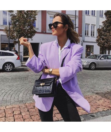 Casual Solid Notched Female Blazers Fashion Single Breasted Long Women's Coats 2019 New Female Clothes Autumn - purple - 5B1...