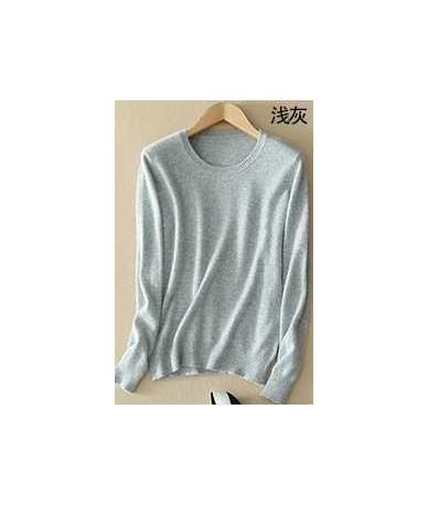 Sweater female women's knitted cashmere sweater slim o-neck sweater short design plus size pullover basic shirt - O light gr...