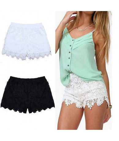 Woman Summer Lace Floral Shorts Summer New Ladies Mini Mesh Lace Crochet Flower Tiered Women Short Pants Summer Clothing - B...