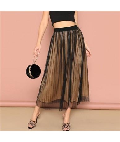 Black Layered Striped Mesh Skirt Women 2019 Spring Mid Waist A Line Skirts Ladies Elegant Elastic Waist Maxi Skirt - Black -...