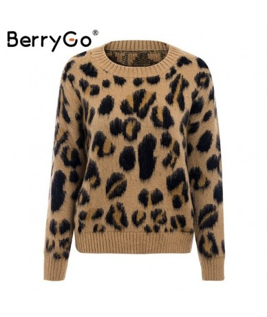 Sexy leopard knitted long sleeve women sweater Female autumn winter pullover Casual plus size o neck jumper femme 2018 - Cam...