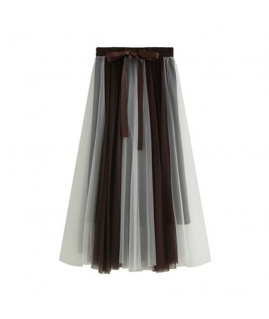 Fairy Spliced Tulle Maxi Long Skirts Korean Bow Ribbon Contast Candy Color Patchwork Mesh Pleated A-line Ankle Long Skirts -...