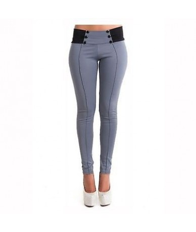 Women Sexy High Waist Solid Long Pants 2016 New Hot Selling Bandage Button Trousers Slim Women OL Office Pants - Gray - 4D41...