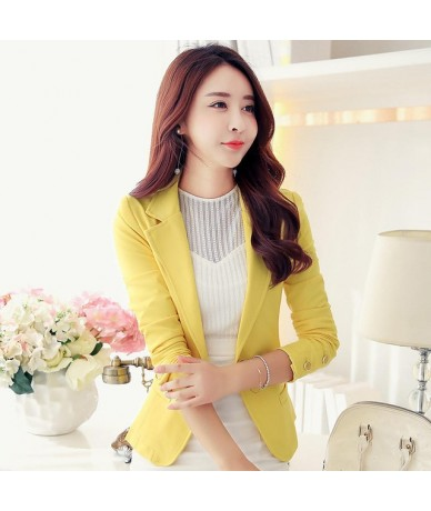 Spring Autumn Blazer Women Elegant Slim Plus Size Suit Jacket Female Long Sleeve Office Lady Tops Blazer Suit Jacket 3XL Q16...