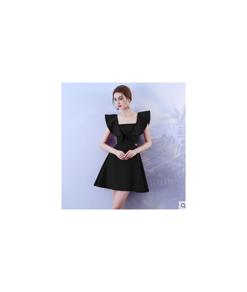 Party Dress 2019 Summer Ruffle Square Collar Both sides hollow out sexy Women Dress - Black - 4O3975917382-1