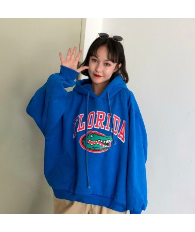 Hoodies Thicker Plus Velvet Letter Printed Harajuku Women Hooded Trendy Batwing Sleeve All-match Womens Korean Style Pullove...