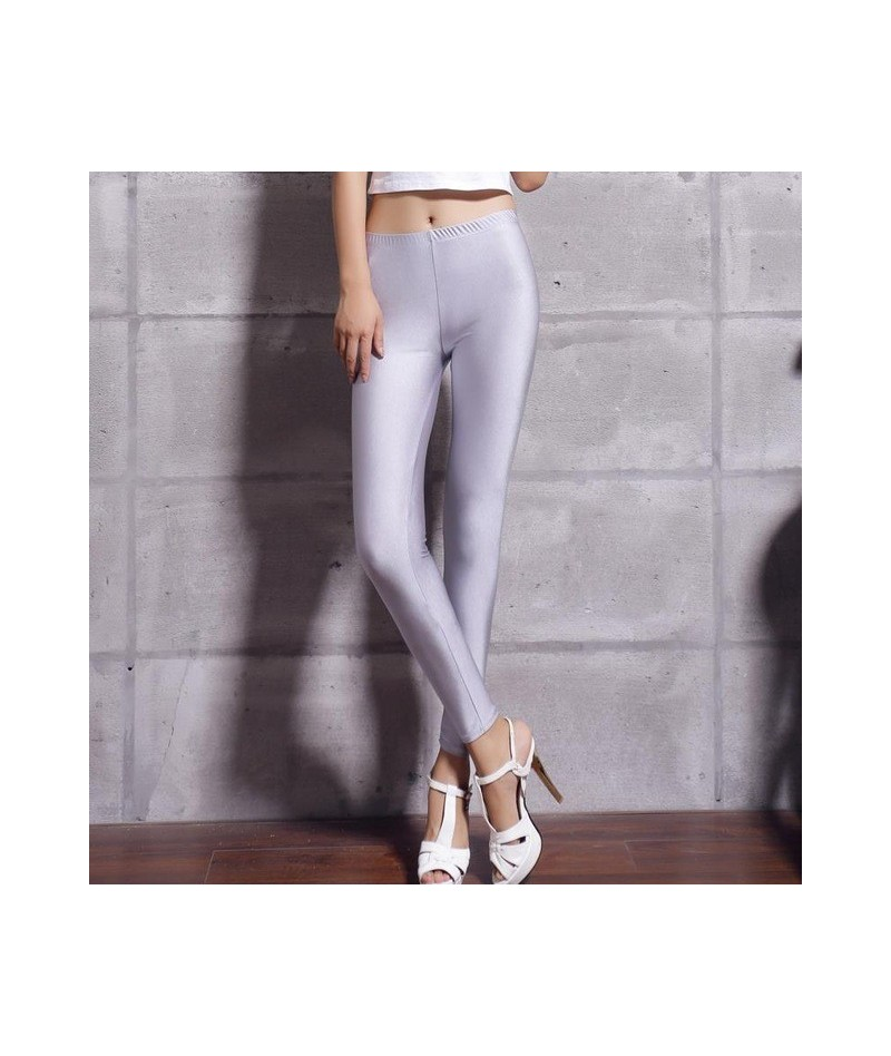 Hot Selling 2018 Women Solid Color Fluorescent Shiny Pant Leggings Large Size Spandex Shinny Elasticity Casual Trousers For ...