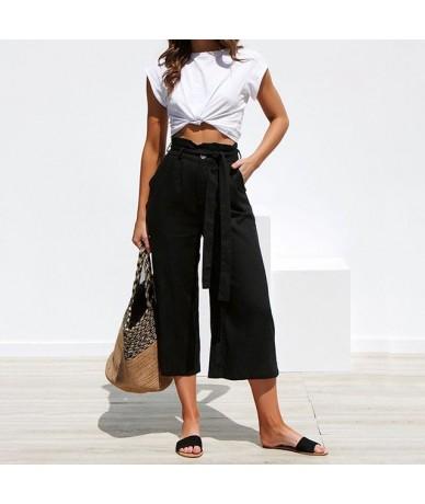 Women Pants Ladies Summer Belt Ruffles Bottoms Holidays Solid Work Waistbelt Culottes Office Beach Casual Pants Wide Leg Tro...