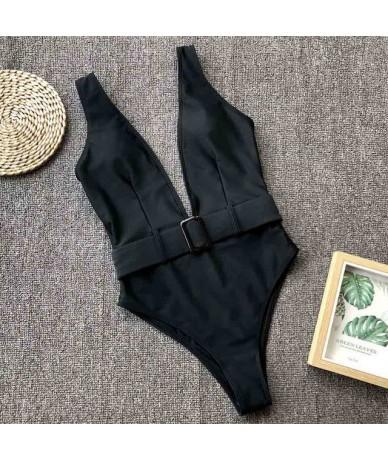 Sexy Deep V Neck Women Summer Bathing Suit Female High Cut Waist Beach Outfits Beachwear One Piece Bodysuit Swimsuits - Blac...