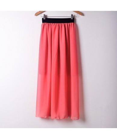 New Fashion Wholesale Women Chiffon Long Skirts Candy Color Pleated Maxi Skirts Free Size - Hot Pink - 4F3835351337-11