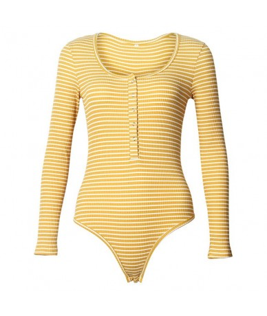 Sexy Body Women New Sexy Winter Bodysuit Rompers Long Sleeve Stripe Button Skinny Bodysuits Long Sleeve Casual Playsuit PL00...