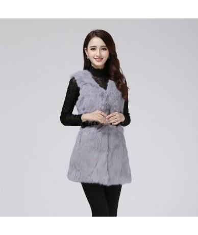 Real natural genuine rabbit fur coat women fashion rabbit fur vest gilet ladies jacket outwear overcoat custom any size - Gr...