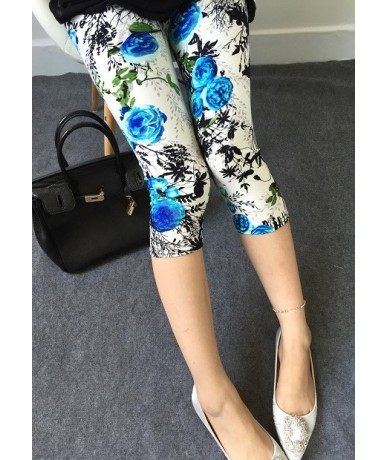 2019 girl printed flowers letter Camouflage pants summer short leggings slim fitted plaid capris - 2 - 483805331221-2