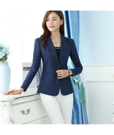 6XL 2019 Spring Autumn Women Solid Work Blazers OL Slim Elegant Jackets Coats Female One Button Blazer Suit Large Size 5XL x...