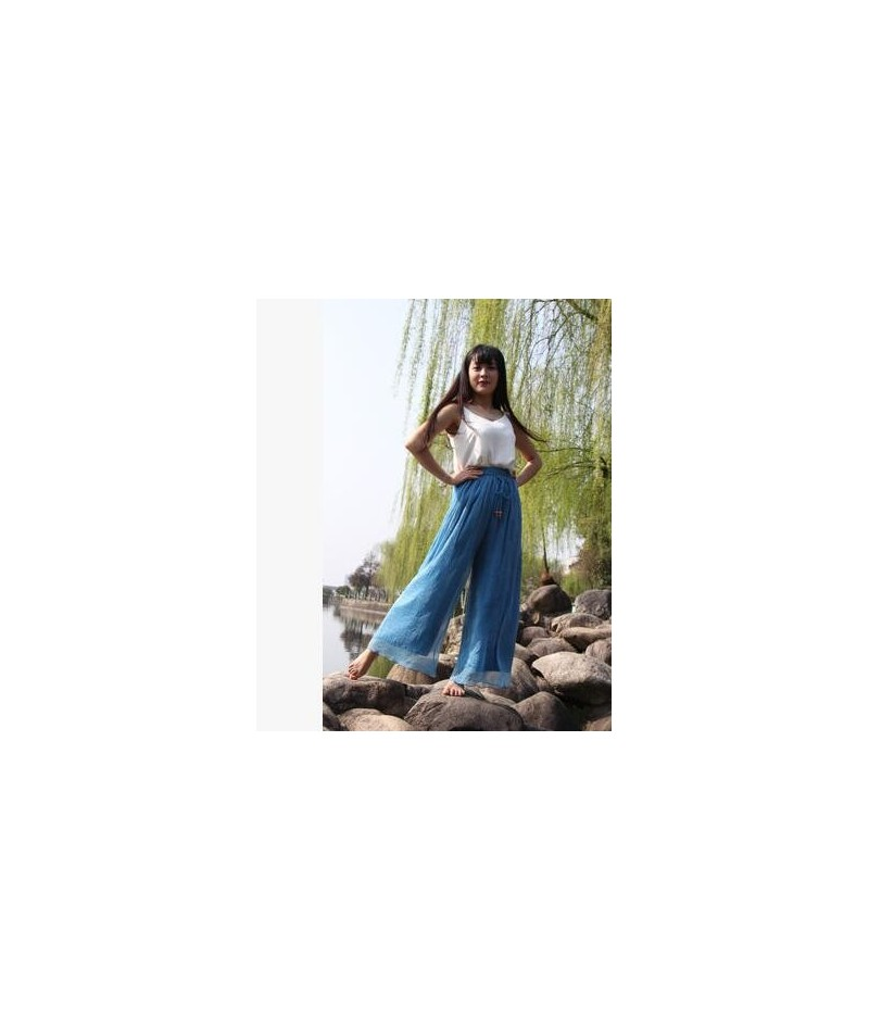 Spring and summer womens beach pants loose plus size high waist culottes gold chiffon skorts wide leg pants trousers - blue ...