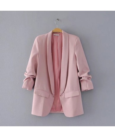 2019 black blazer coat jacket women casual autumn folded sleeve OL blazer jacket polka dot print coat female outwears - Pink...