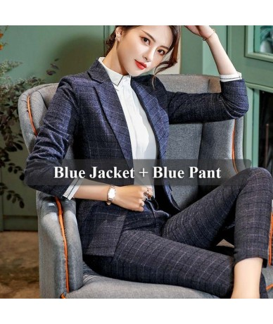 2 Pieces Set Plaid Formal Pant Suit Office Lady Uniform Designs for Women Business High-quality Suits Work Wear - 2 Piece Bl...