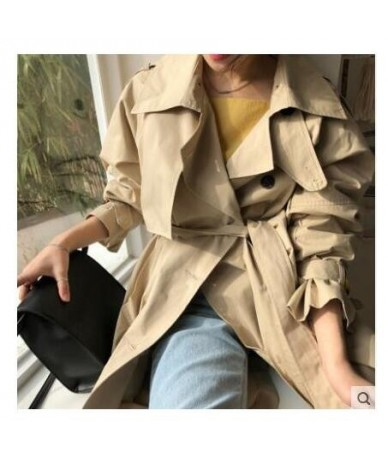 Abrigos Spring Autumn 2018 Korean Fashion Double Breasted Mid-long Trench Coat Mujer Loose Belt large size Windbreak Outwear...