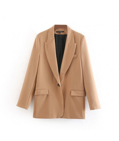 Women solid basic blazer single button pockets notched collar female office wear jacket coat tops - Khaki - 5R111256457395