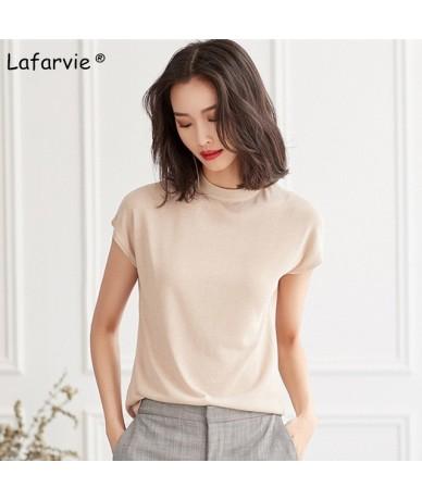 Knitted Linen Sweater Women Summer O-Neck Short Sleeve Thin Solid Soft Comfortable Knitting Jumper Shirt Beige M-XL - beige ...