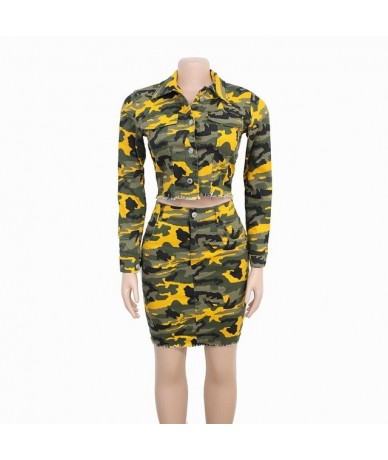 2019 Autumn Women Short Coat Mini Skirt Office Lady 2 Piece Set Casual Camouflage Denim Outfits Pockets Club Matching Sets -...