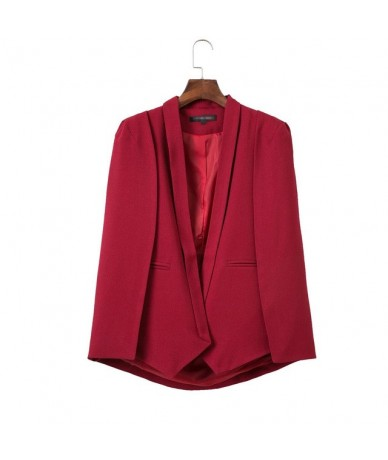2018 blazer women outwears spring wine red navy blue white black new women's shawl blazer cape jacket - Red - 4Z3815427339-3